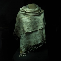 Eco printed linen shawl by the Village Knitiot, Barbara Henry