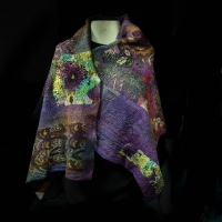 SOLD Felted shawl by the Village Knitiot, Barbara Henry